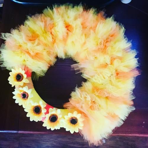 Tulle Sunflower Wreath