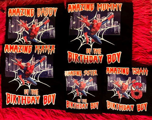 Spiderman Themed Birthday Shirts