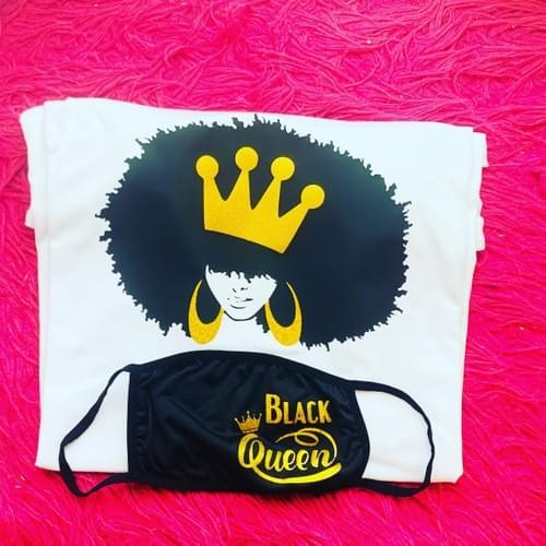 Black Queen Shirt & Mask Set