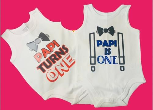 Baby Turns/Is One Bow Tie Onesies