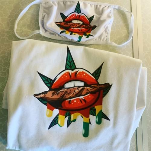 Marijuana Drip Lip Mask/Shirt Set