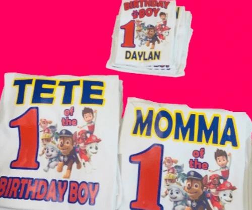 Paw Patrol Themed Birthday Shirts