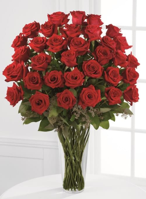 BREATHLESS:  4 DOZEN LONG-STEMMED RED ROSES