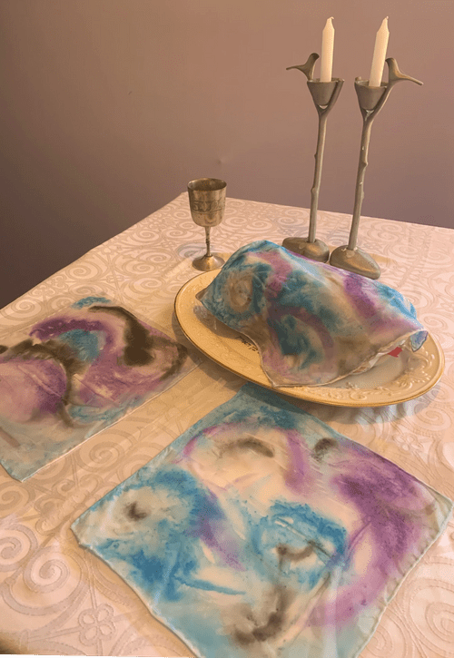 Hand Painted Silk Challah Cover