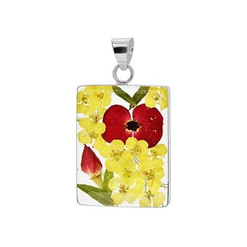 Virágos négyszögletes medál (Cikkszám: 42221)