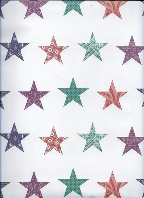 Multi-Coloured Christmas Stars Paper / Papier d'emballage de Noël - multicolore des étoiles