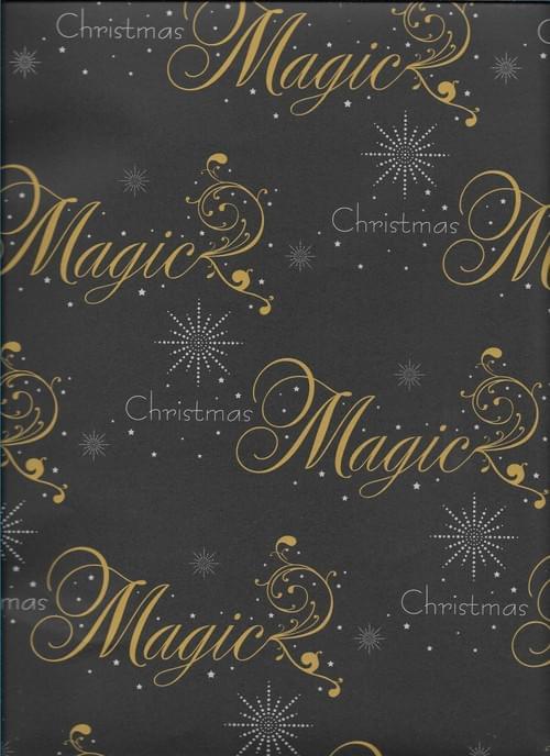 Black Magic Christmas Paper / Papier d'emballage de Noël - avec 'Magic Christmas'