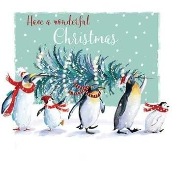 Penguins carrying the tree
