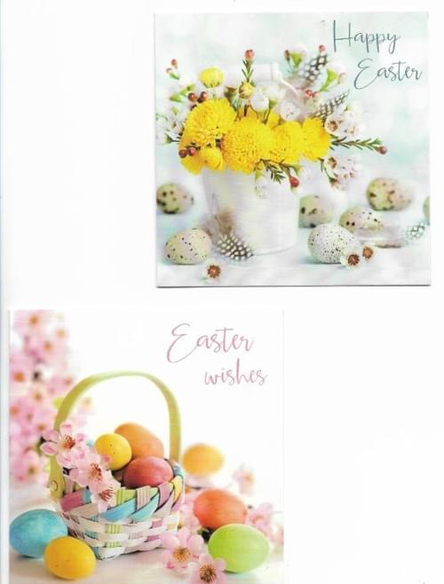 Yellow Flowers and Easter Eggs - Pack of 8 Easter Cards