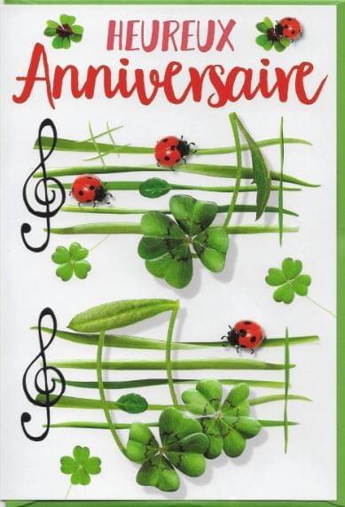 Trèfle vert Anniversaire / Green Clover Birthday