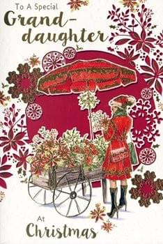 Special Granddaughter - Christmas Cart & Flowers