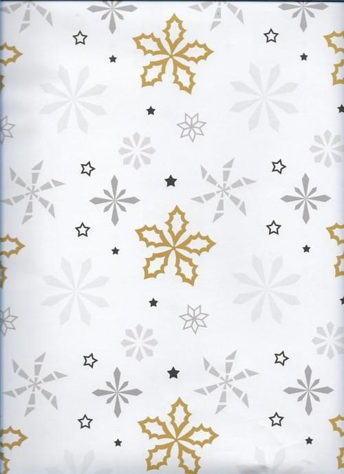 Gold & Silver Snowflakes Christmas Paper / Papier de Noël Flocons de neige - or et argent
