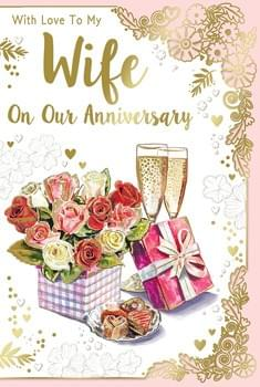 Champagne & Roses - To My Wife on Our Anniversary