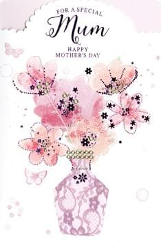 For a Special Mum - Happy Mother's Day - Pink Flowers