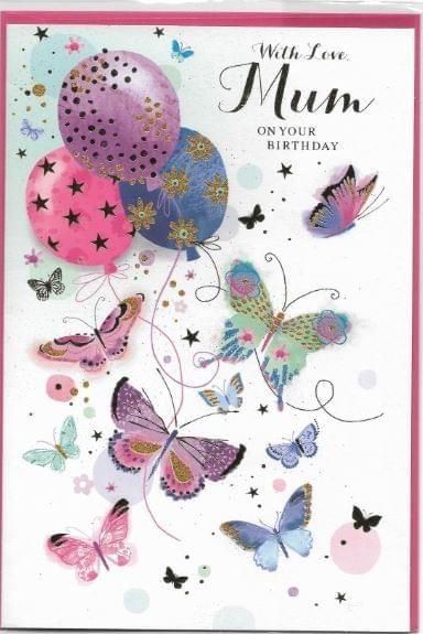 Mum Butterflies & Balloons Birthday