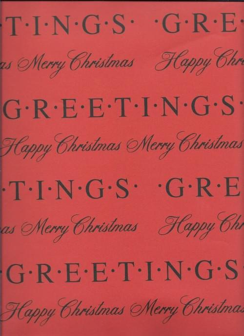 Seasons Greetings Christmas Paper / Papier d'emballage de Noël avec 'Greetings'