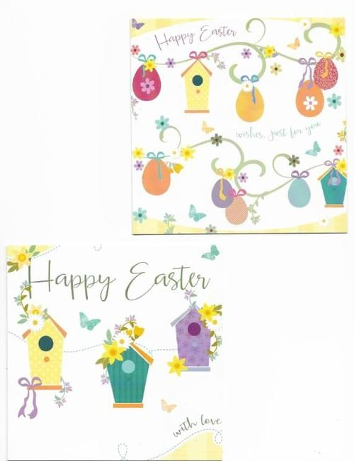Easter Eggs & Bird Boxes - Pack of 8 Easter Cards