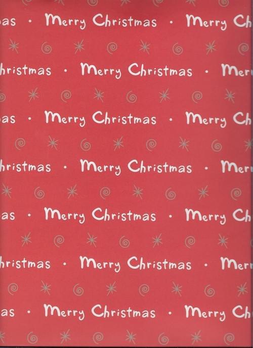 Red Merry Christmas Paper / Papier d'emballage de Noël avec 'Merry Christmas'