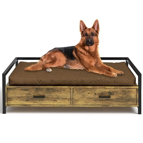 MSMASK Pet Beds Frame for Dogs Cats Animals, Modern Style with Storage Drawer, Wood and Iron Frame