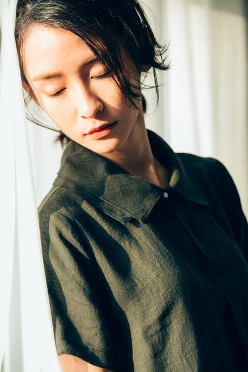 純苧麻洋裝雙層領100%RAMIE DRESS ONE PIECE_BD008