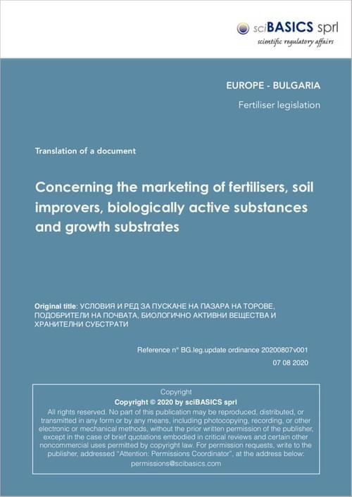 Concerning the marketing of fertilisers, soil improvers, biologically active substances and ...