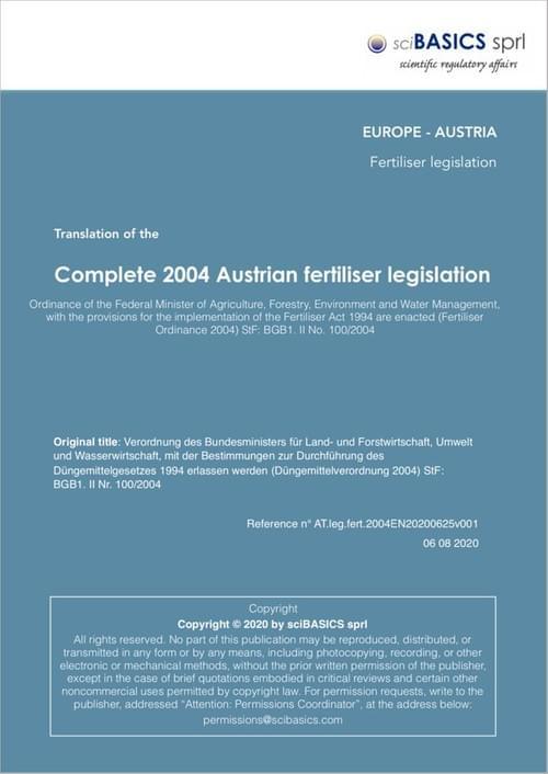 Complete 2004 Austrian fertiliser legislation