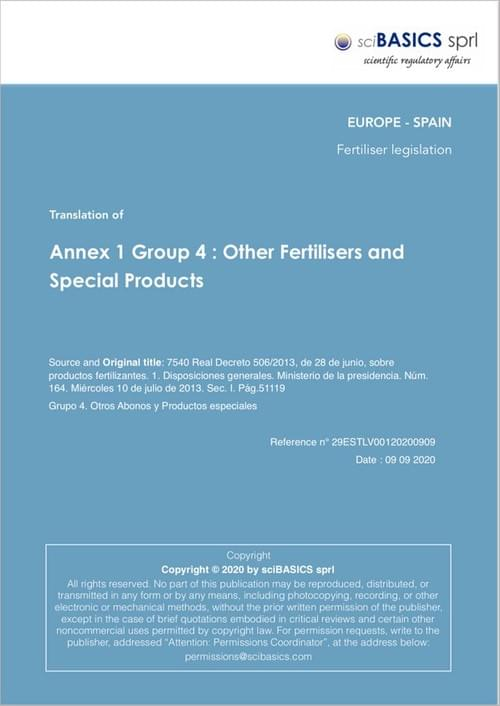 Annex 1 Group 4 : Other Fertilisers and Special Products