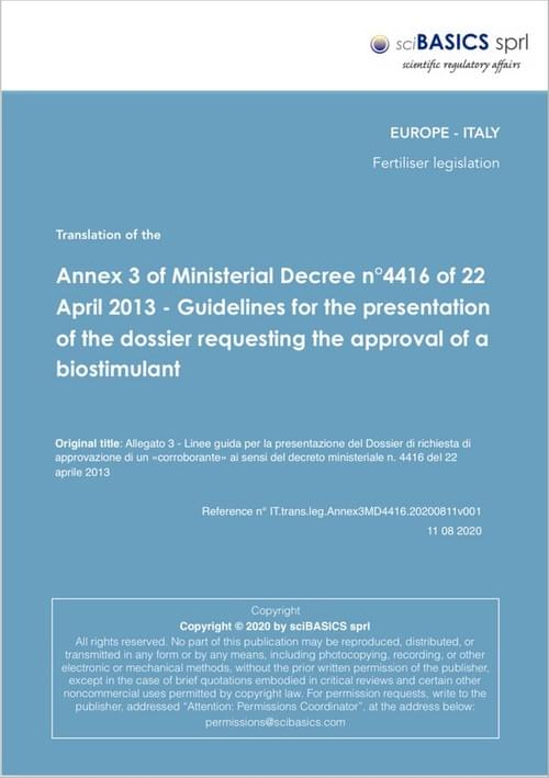Guidelines for the presentation of the dossier requesting the approval of a biostimulant