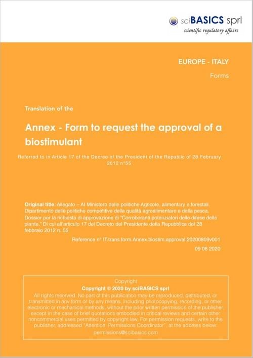 Form to request the approval of a biostimuland