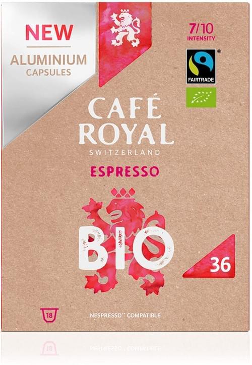 36 Capsules Café Royal Espresso Bio en Aluminium Compatibles avec le Système Nespresso