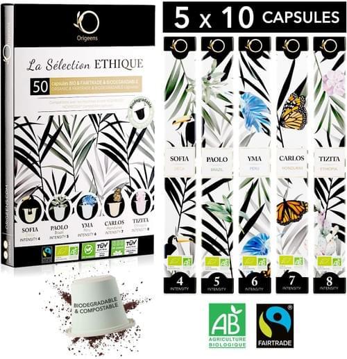 50 Capsules Nespresso Compatible - Cafés BIO Fairtrade Arabica - Capsule Biodégradable
