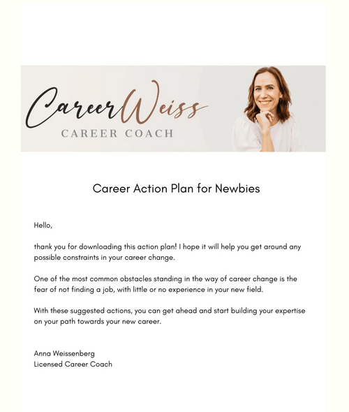 FREE: Career Action Plan for Newbies