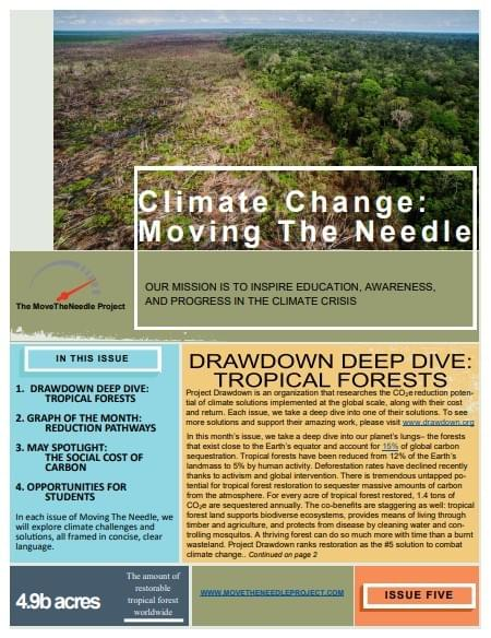 May Newsletter: Tropical Forests, Sequestration, and the Social Cost of Carbon