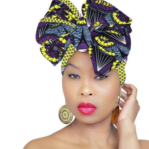 African Head Scarf - Purple Rain