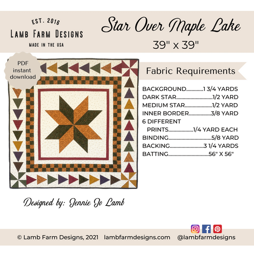 """""""Star Over Maple Lake"""" Pattern - Instant Download"""
