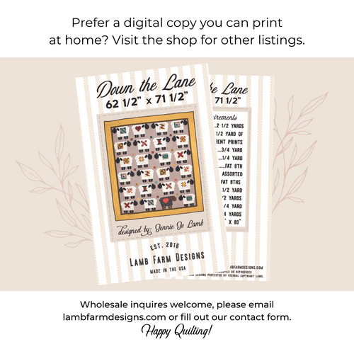 """""""Down the Lane"""" Pattern Instructions Booklet"""