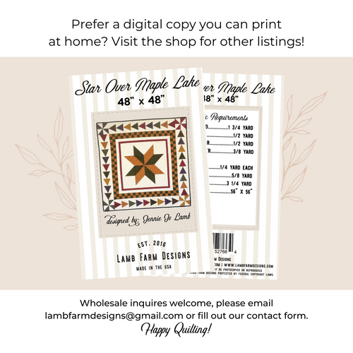 """""""Star Over Maple Lake"""" Pattern - Instructions Booklet"""