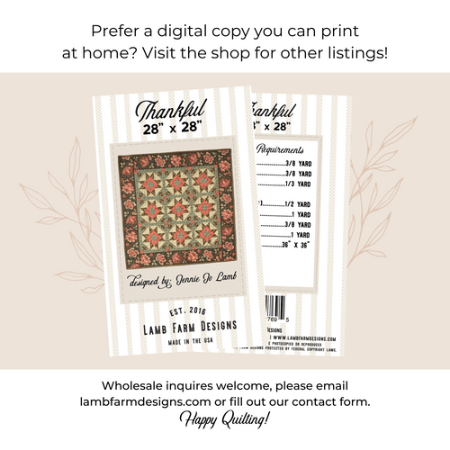 """""""Thankful"""" Pattern Instructions Booklet"""