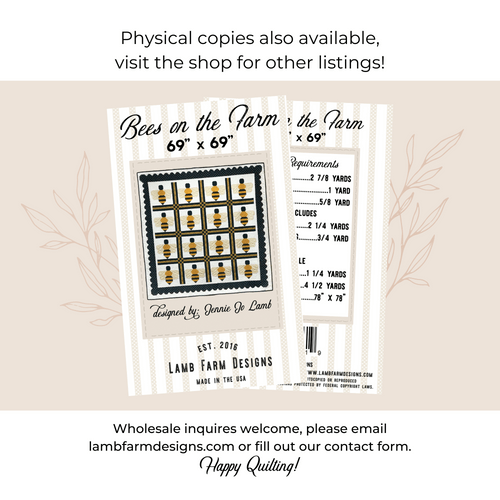 """""""Bees on the Farm"""" Pattern -  Instant Download"""