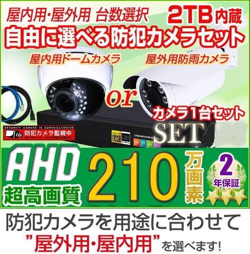 210万画素AHDカメラ1台と4chデジタルレコーダーセット