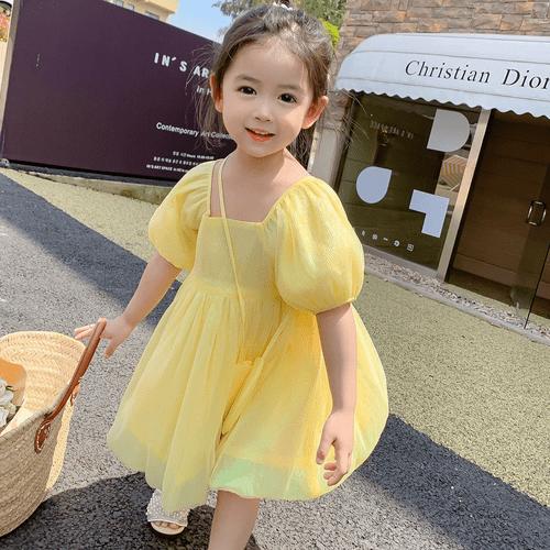 【貝兒公主】童話風美女與野獸貝兒公主亮黃色澎澎裙柔軟好穿童裝/女童/連衣裙