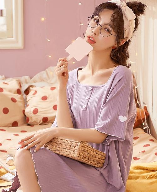 【紫色少女】最低優惠/居家/遠距/視訊/家居服紫色甜美女神氣質V領微性感棉質睡衣/睡衣裙/居家服