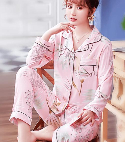 【左岸花園】最低優惠/居家/遠距/視訊/家居服嫩粉棉質粉紅法式女神氣質V領微性感睡衣/睡衣褲/居家服