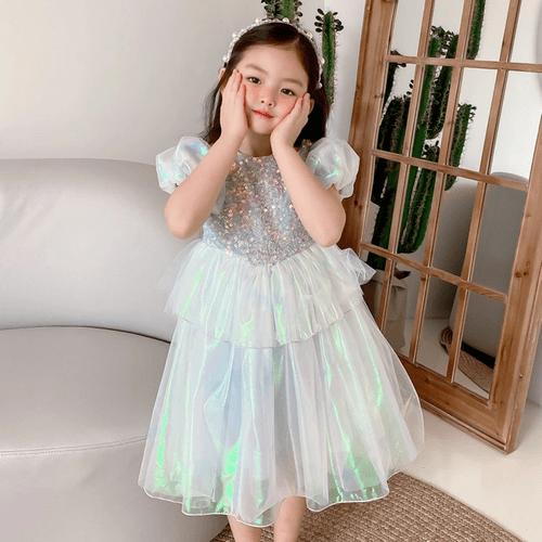 【小美人魚】閃亮童話風小美人魚公主亮片澎澎裙柔軟好穿童裝/女童/連衣裙