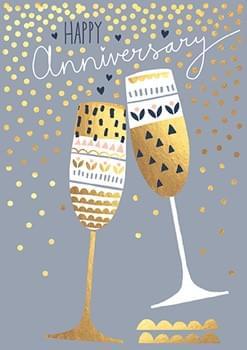 Happy Anniversary Champagne Flutes