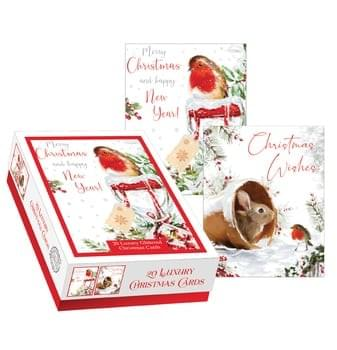 Pack of 20 Christmas Cards - Robin & Rabbit