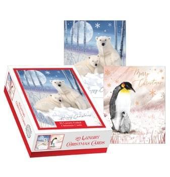 Pack of 20 Christmas cards - Polar Bears & Penguins