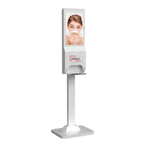 """CASHEL"" Free standing Video Messaging or Advertising with Inbuilt Sanitising GEL Dispenser"