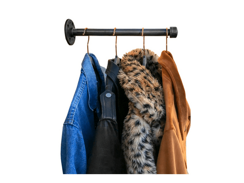 3x Industrial Pipe Faceout Clothing Rack / Display