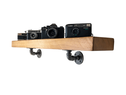 Industrial Pipe Shelf Brackets - 2 Pack